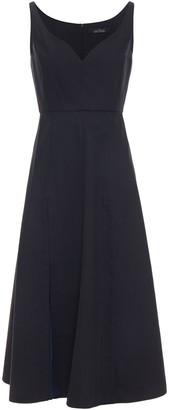 Rokh Paneled Pleated Twill And Georgette Midi Dress