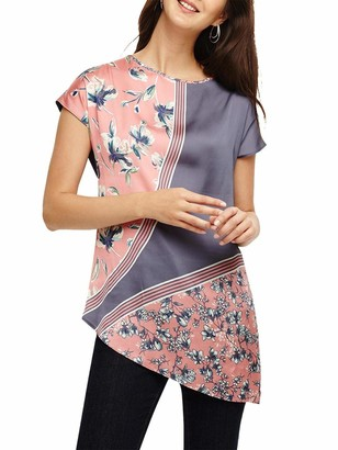 Ex Phase Eight Phase Eight Seconds Pink Blue Grey Floral Short Sleeve Stretch Top Asymmetric Size 14