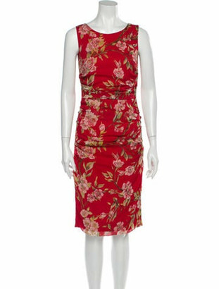 Dolce & Gabbana Floral Print Knee-Length Dress Red