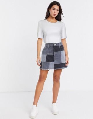 Alice + Olivia Jeans patchwork mini skirt in blue