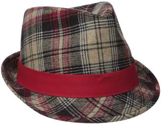 Henschel Men's Wool Blend Plaid Fedora with Solid Band and Loop