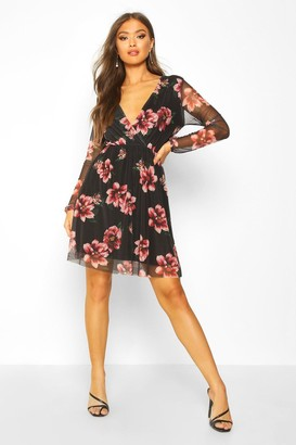 boohoo Floral Mesh Sleeve Skater Dress