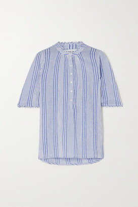 Apiece Apart Alta Striped Crinkled Cotton-gauze Shirt - Light blue