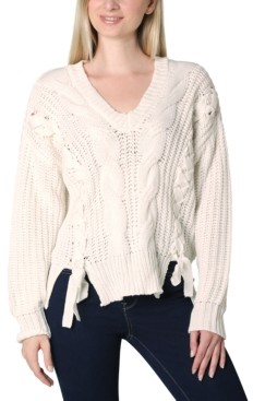 Ultra Flirt Juniors' Lace Up Sweater