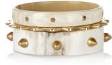 Ashley Pittman Mwanga set of three horn and gold-tone bangles