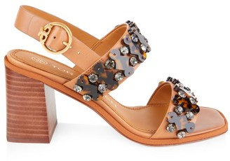 Tory Burch Delaney Embellished Leather Block-Heel Sandals