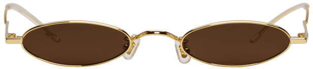Gentle Monster SSENSE Exclusive Gold and Brown Vector Sunglasses