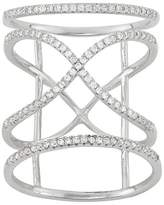"""Tiara 0.75 CT. T.W. Caged """"X"""" Cubic Zirconia Ring In Sterling Silver"""