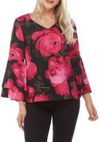 Peter Nygard Floral Layered Bell Sleeve Top