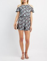 Charlotte Russe Paisley Ruffle Cold Shoulder Romper
