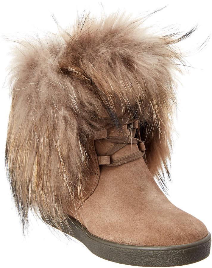 Aquatalia Cecelia Waterproof Suede And Fur Boot