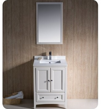 "Oxford 24"" Single Bathroom Vanity Set with Mirror Fresca Base Finish: Antique White"