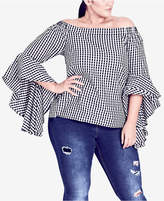 City Chic Trendy Plus Size Cotton Printed Dramatic-Sleeve Top
