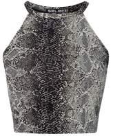 Select Fashion Fashion Womens Brown Lurex Snake Halter Crop - size 14