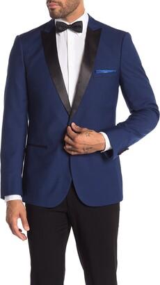 Paisley & Gray Grosvenor Blue One Button Peak Lapel Slim Fit Tuxedo Jacket