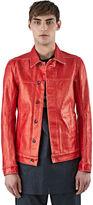 Rick Owens Drkshdw Men's Stiff Painted Worker Jacket In Red