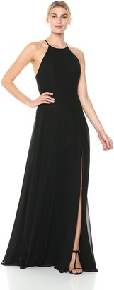 Jenny Yoo Women's Kayla A-Line Halter Chiffon Long Dress