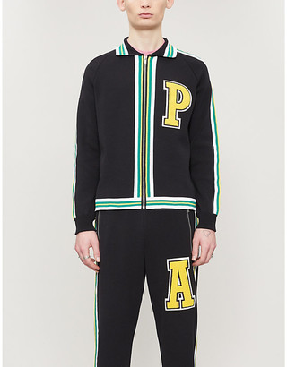 Palm Angels Brand-badge striped-trim cotton-blend knit jacket