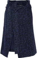 Sibling Leopard-print brushed cotton-twill wrap skirt