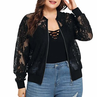 WUDUBE Womens Solid Plus Size Lace Loose Shawl Cardigan Cover Up Long Sleeve Casual Fashion Sexy Black Clothing for Ladies Going Out Set T-Shirt Sweaters Tops Blouse Shirt Tee