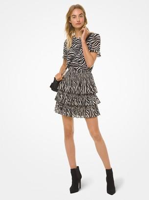 MICHAEL Michael Kors Tiger-Print Georgette Tiered Dress