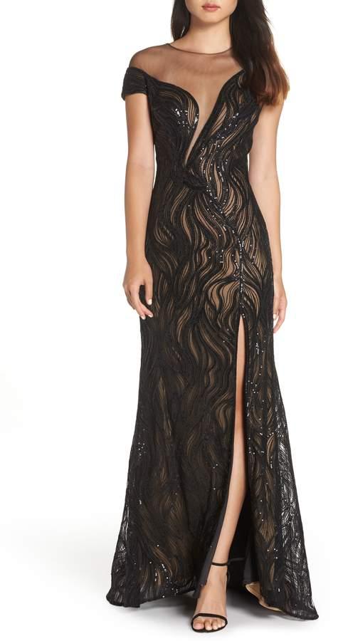 Tadashi Shoji Lucilia Illusion Sequin Gown
