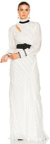 Erdem FWRD EXCLUSIVE Hollie Ripped Silk Voile Dress in White.