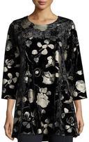 Caroline Rose 3/4-Sleeve Panne Velvet Tunic W/ Shimmer, Black, Petite