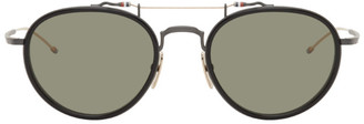 Thom Browne Black and Gold Round TBS815 Sunglasses