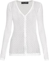 Dolce & Gabbana V-neck chevron-knit silk cardigan