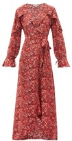 D'Ascoli Leela Floral-print Silk Wrap Dress - Womens - Red Print