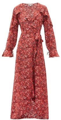 D'Ascoli Leela Floral-print Silk Wrap Dress - Red Print