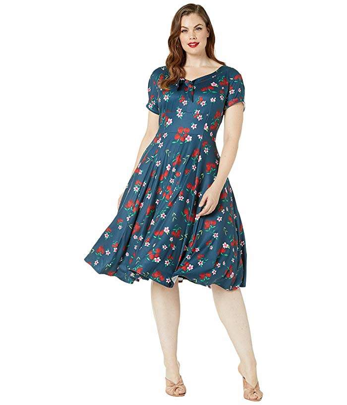 Plus Size 1940s Style Short Sleeve Natalie Swing Dress