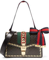 Gucci Sylvie Small Chain-embellished Printed Leather Shoulder Bag - Black