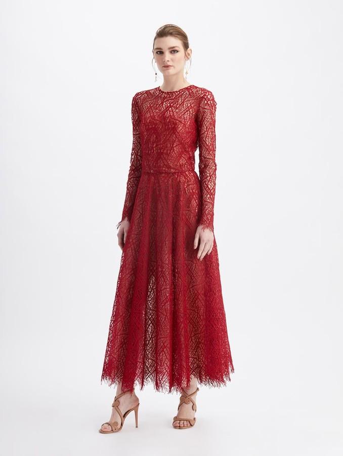 Oscar de la Renta Guipure Lace Midi Cocktail Dress