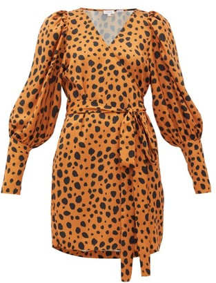 Rhode Resort Frankie Leopard-print Polka-dot Satin Wrap Dress - Leopard