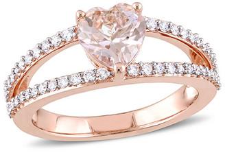 Diamond Select Cuts 14K Rose Gold 1.38 Ct. Tw. Diamond & Morganite Split Shank Ring