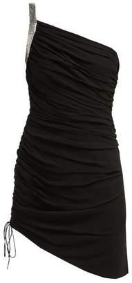 Saint Laurent One-shoulder Ruched Crepe Mini Dress - Womens - Black
