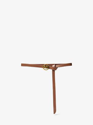 MICHAEL Michael Kors MK Skinny Leather Waist Belt - Luggage Brown - Michael Kors