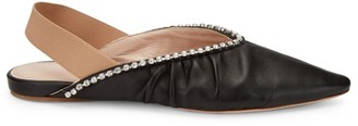 Miu Miu Crystal-Embellished Leather Slingback Flats