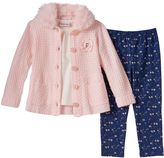 Little Lass Toddler Girl Knit Sweater Cardigan, Tee & Floral Leggings Set