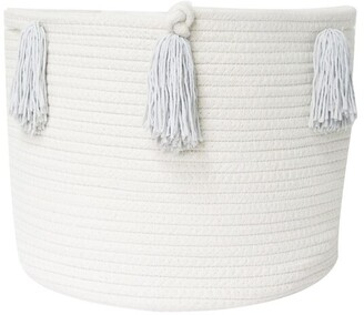 Twig + Tassel Grey Tassel Basket - Medium