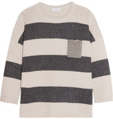 Brunello Cucinelli Embellished Striped Cashmere Sweater - Cream