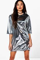 Boohoo Fleur Metallic Long Sleeved Shift Dress