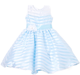Aqua Stripe Flower-Sash Dress - Infant Toddler & Girls