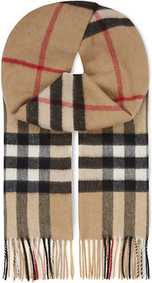 Burberry Giant check cashmere scarf, Women's, Camel check