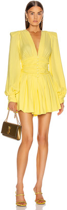 ATTICO Long Sleeve Ruched Mini Dress in Pale Yellow | FWRD