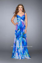 La Femme Crystal Beaded Strappy Back Watercolor Print Chiffon Prom Gown 24668