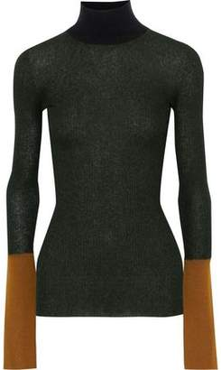 Marni Color-block Ribbed-knit Turtleneck Top