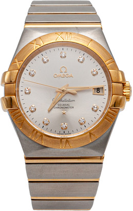 Omega Silver Diamond Dial Constellation Steel & Yellow Gold Automatic Watch 35MM